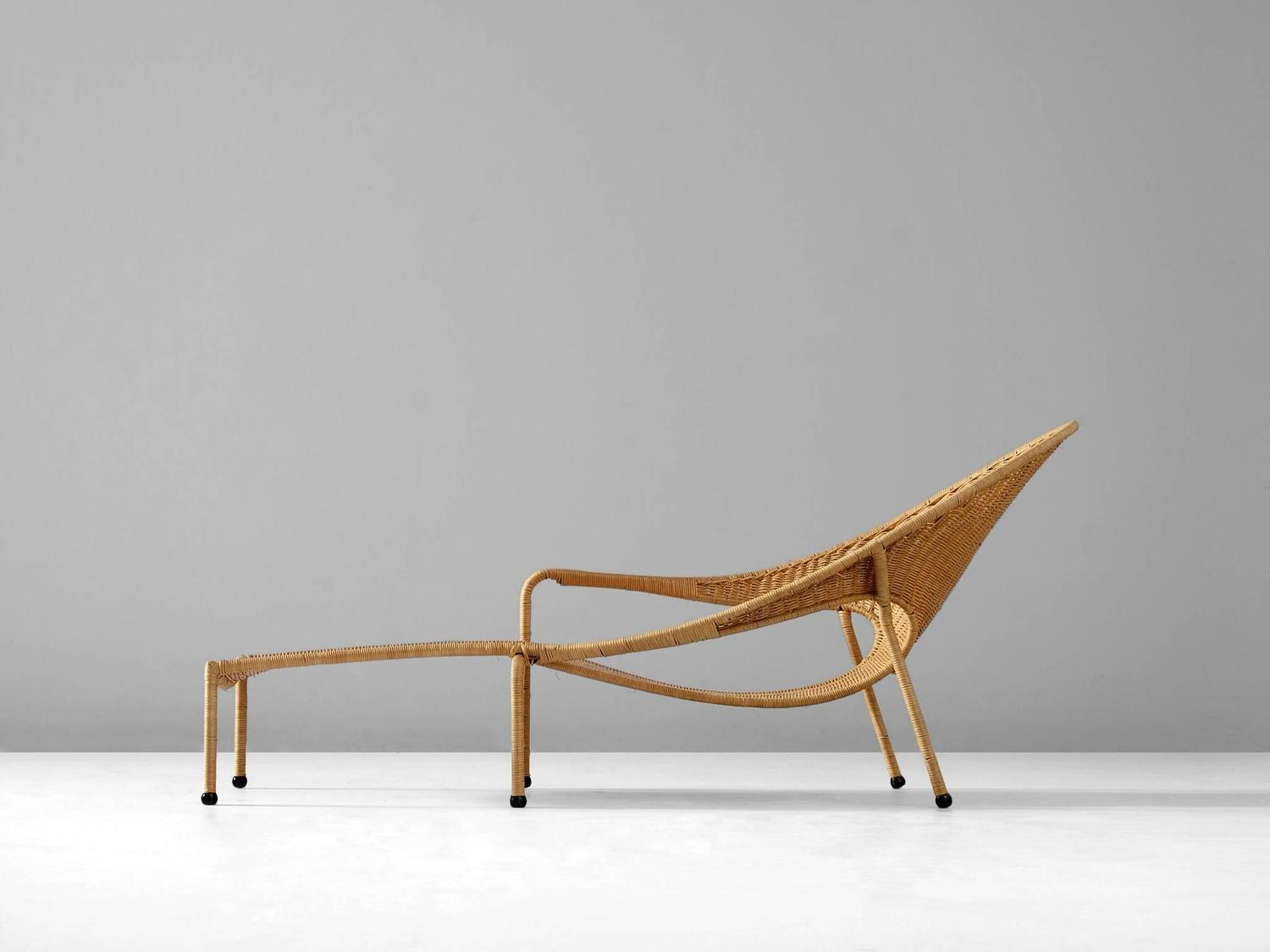 Francis mair wicker chaise longue for sale at 1stdibs for Chaise longue rattan