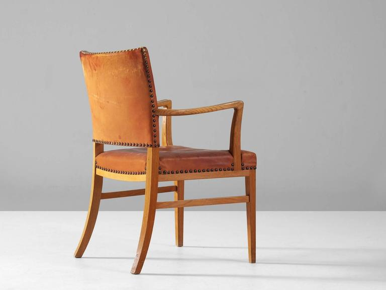 Danish Armchair in Oak and Cognac Leather  3