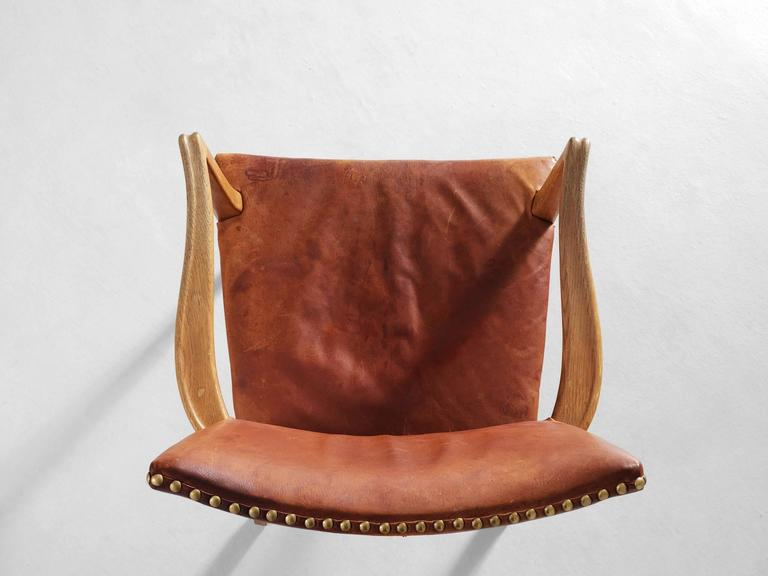 Mid-20th Century Danish Armchair in Oak and Cognac Leather  For Sale