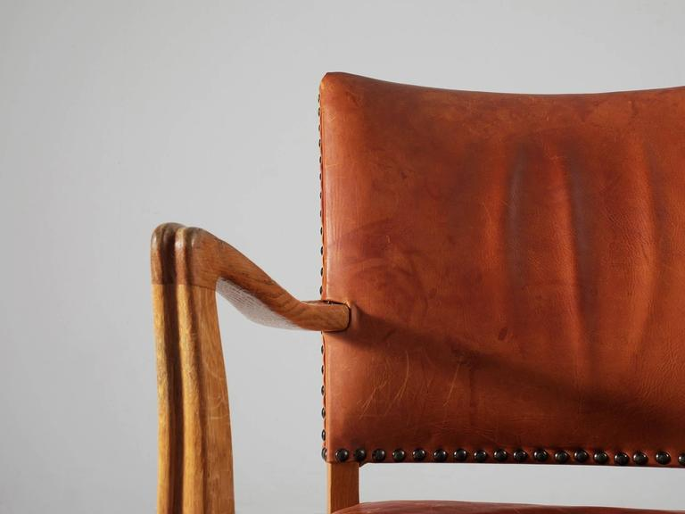 Danish Armchair in Oak and Cognac Leather  For Sale 3