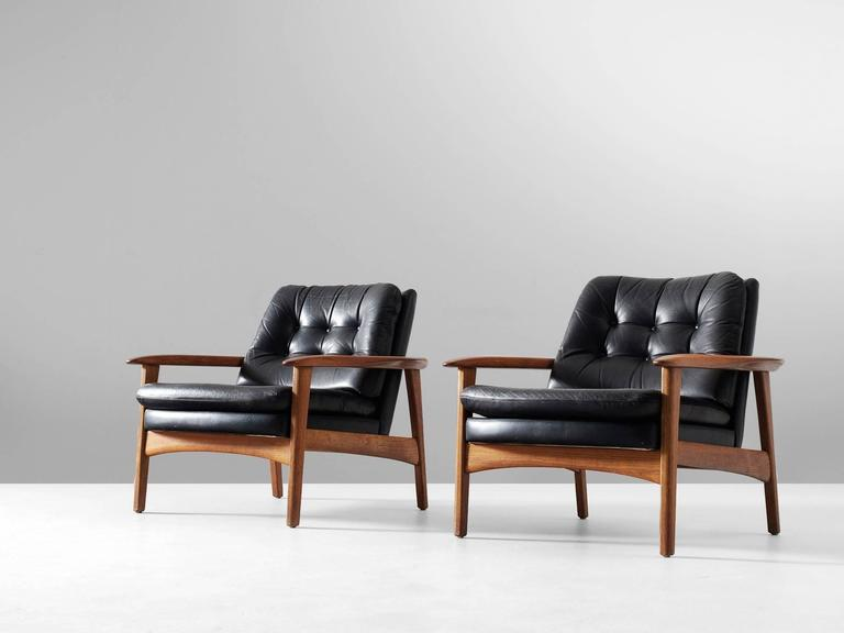 Pair Of Armchairs, In Teak And Leather, Scandinavia 1960s. Elegant Pair Of  Highly