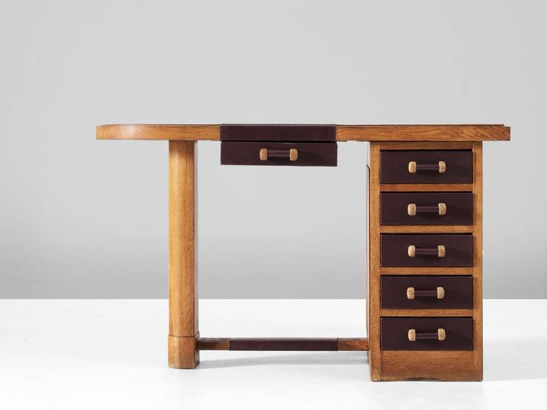 Desk, In Oak And Leather, Europe, 1930s. Small Desk In Art