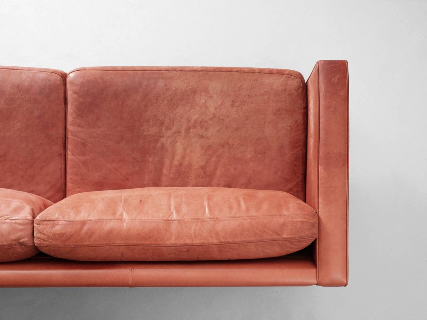 Illums Bolighus Patinated Red Leather Sofa For Sale At 1stdibs