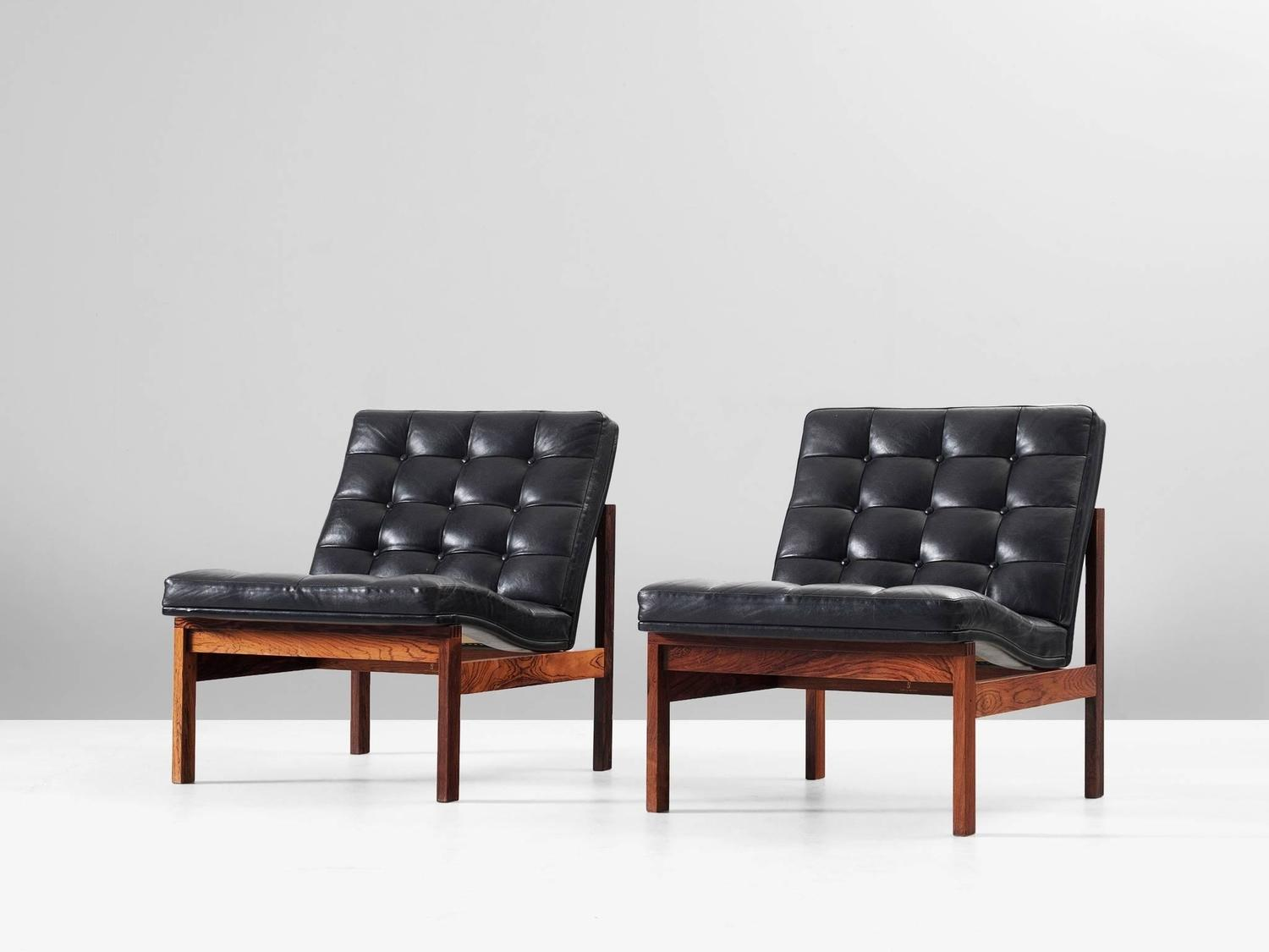 pair of easy chairs in rosewood and leather by ole gjerl v knudsen