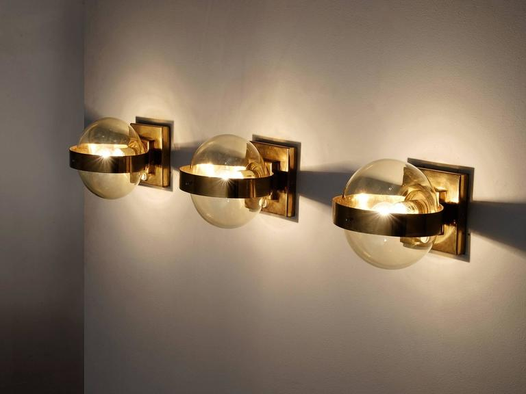 Set of 2 Wall Lights in Brass and Glass 3