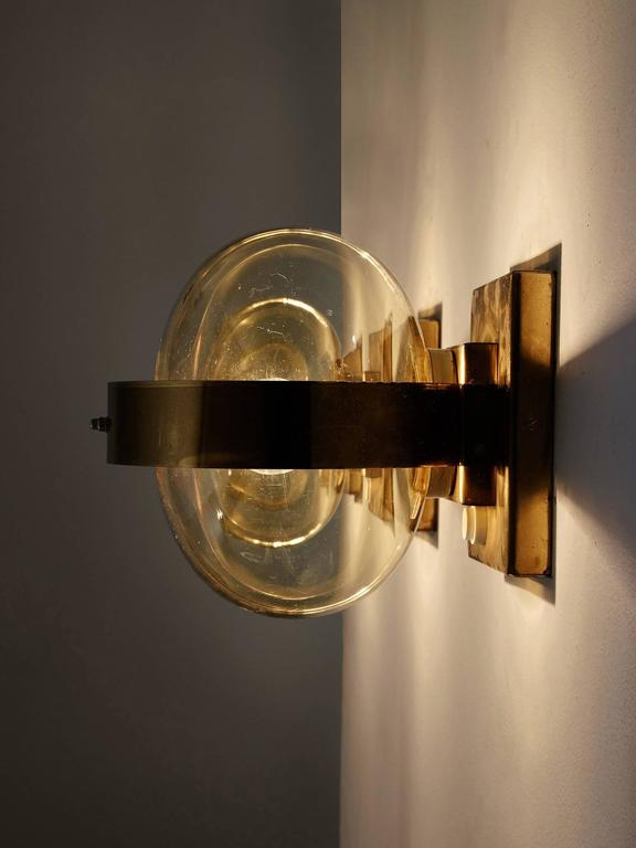 Set of 2 Wall Lights in Brass and Glass 4