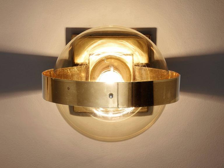 Set of 2 Wall Lights in Brass and Glass 6