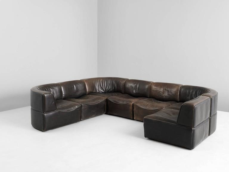 Mid-Century Modern De Sede DS15 Sectional Sofa in Patinated Brown Buffalo Leather