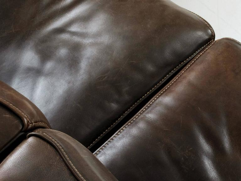 De Sede DS15 Sectional Sofa in Patinated Brown Buffalo Leather 1