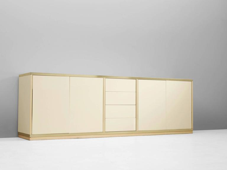Mid-Century Modern High Gloss Brass Sideboard For Sale