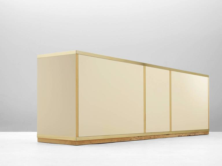 Italian High Gloss Brass Sideboard For Sale