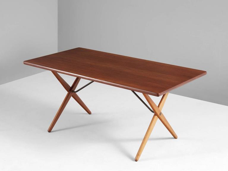 Finest Hans J. Wegner AT-303 Cross Leg Table in Teak For Sale at 1stdibs PX39