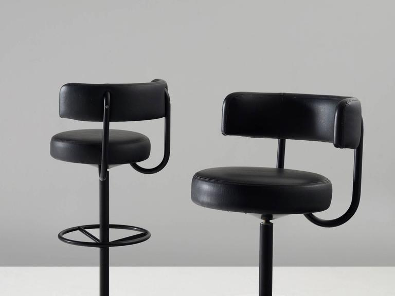 Cowhide Barstools Vintage Black White Hairhide Leather Bar: Set Of Four Black Swedish Bar Stools For Sale At 1stdibs