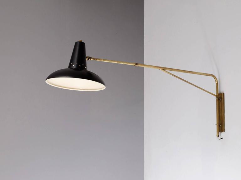 Italian Extendable Swivel Brass Wall Light For Sale at 1stdibs