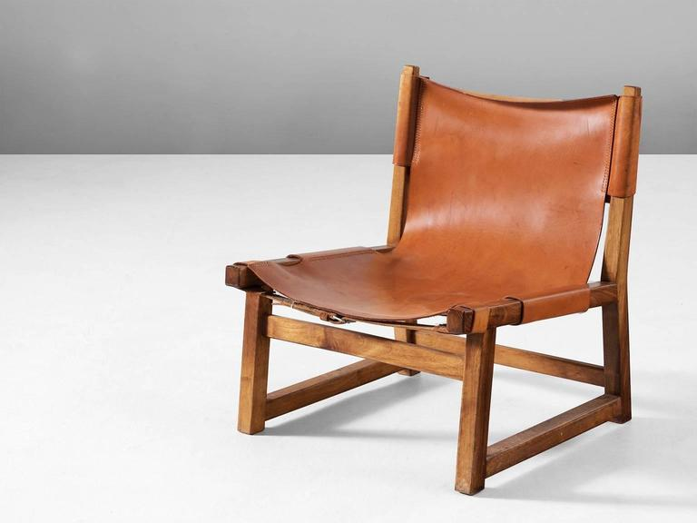 Hunting Chair, Wood And Leather, Scandinavia, 1950s. Sturdy Chair With A  Frame