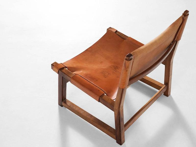 Superieur Scandinavian Modern Scandinavian Hunting Chair In Cognac Leather For Sale