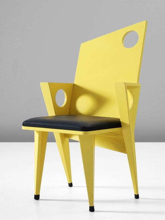 Late 20th Century Set of Four Black and Yellow Armchairs For Sale
