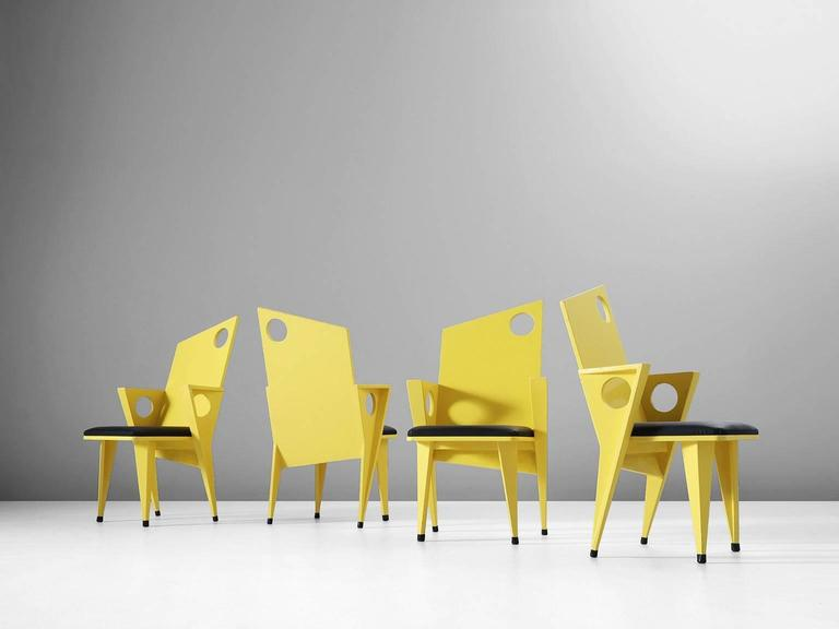 European Set of Four Black and Yellow Armchairs For Sale