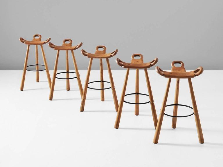 Set Of Five Brutalist Or Marbella Bar Stools In Stained Beech