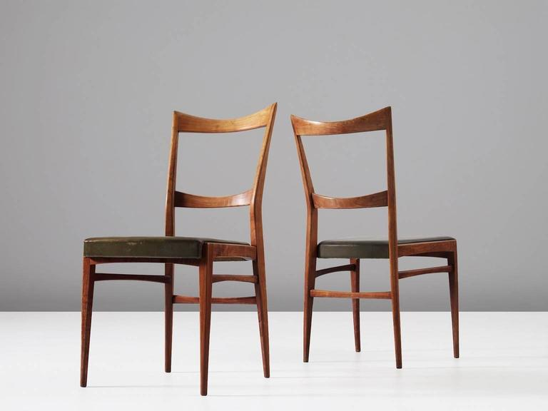 Mid-20th Century Set of Six Italian Dining Chairs in Walnut and Green Leather Upholstery
