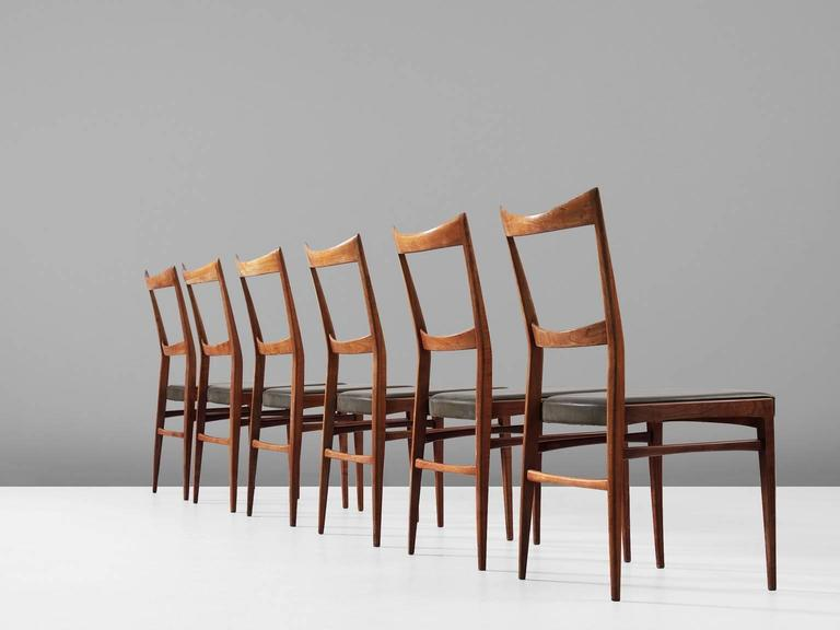 Mid-Century Modern Set of Six Italian Dining Chairs in Walnut and Green Leather Upholstery