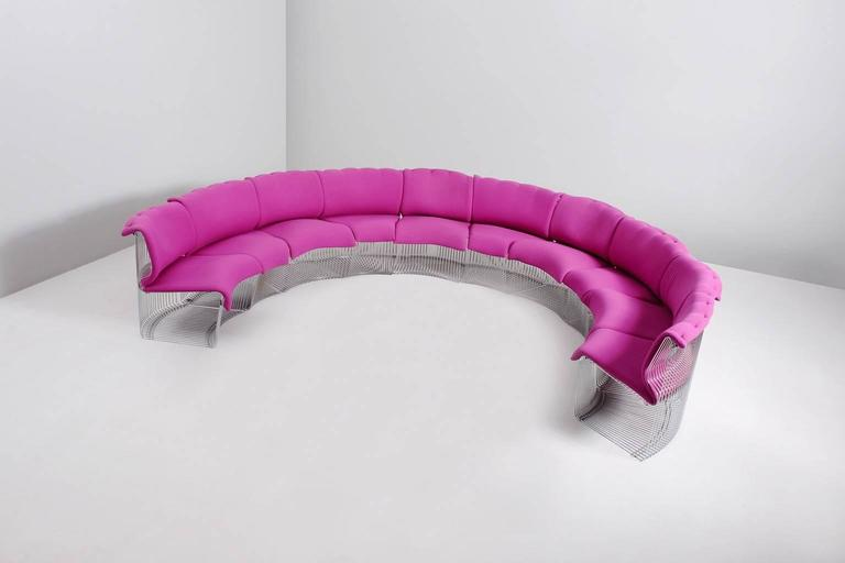 Sectional sofa model 'Pantonova' in metal and fabric by Verner Panton for Fritz Hansen, Denmark, 1970s.  Large sectional sofa of 10 elements by Danish Designer Verner Panton. These 'chairs' are upholstered with loose cushion in cyclamen fabric.