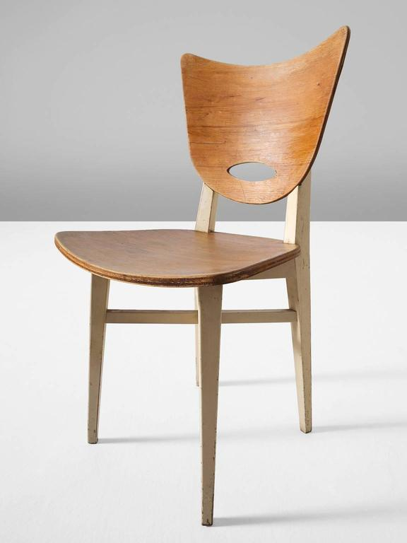 Mid-20th Century Set of Four Dining Chairs in Beech For Sale
