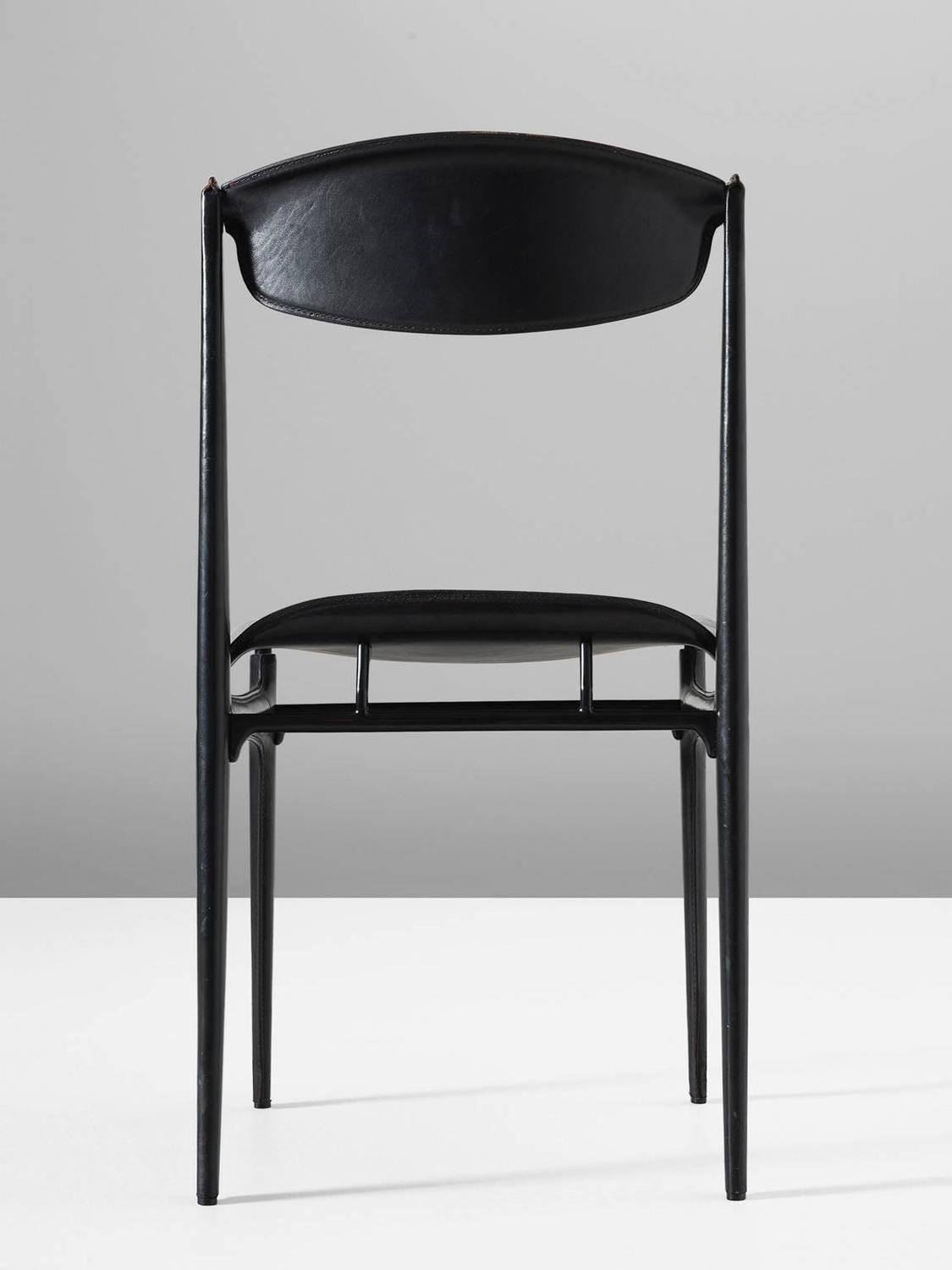 Set Of Six Dining Chairs In Black Leather For Sale At 1stdibs