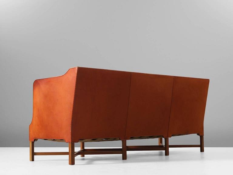 Danish Kaare Klint Early Sofa in Cognac Leather for Rud Rasmussen For Sale