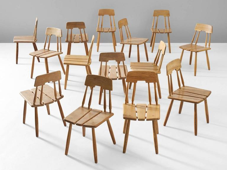 Set of finnish dining chairs in solid oak for sale at