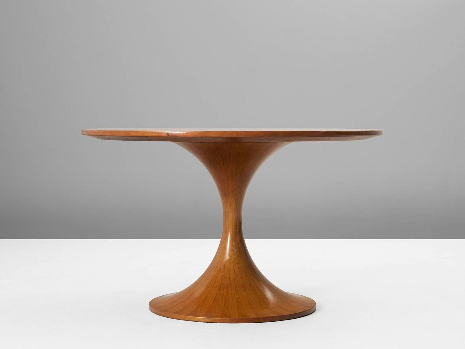 luigi massoni wooden round pedestal dining table for sale at 1stdibs