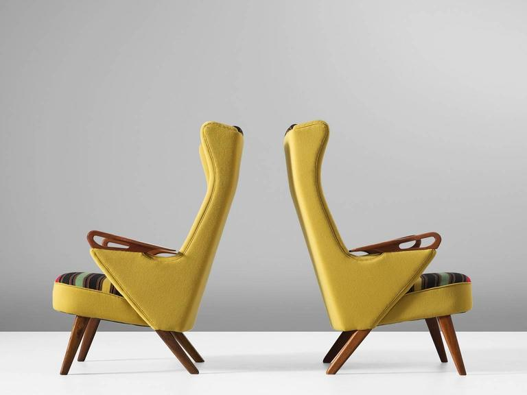 Mid-Century Modern Colorful Pair of Danish Reupholstered Highback Chairs For Sale