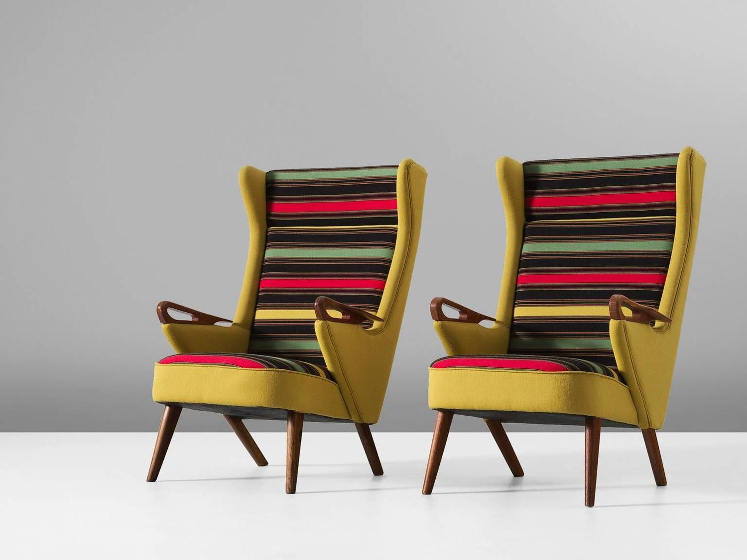 colorful pair of danish reupholstered highback chairs for