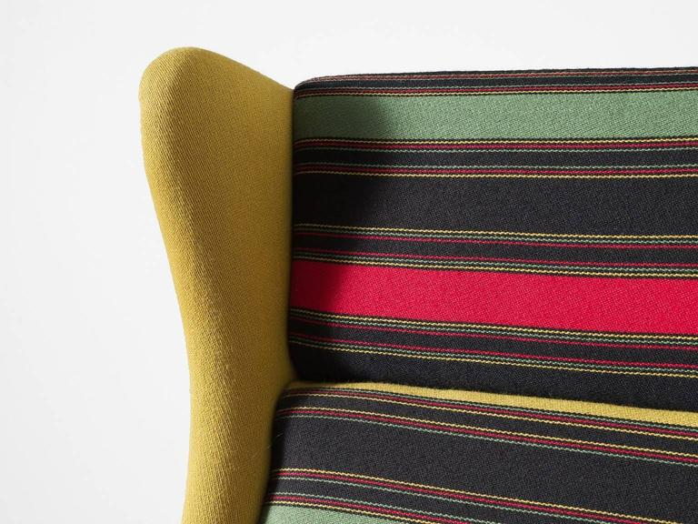 Colorful Pair of Danish Reupholstered Highback Chairs For Sale 1