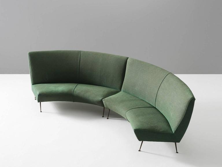 Italian Green Curved Modular Sofa With Brass Legs For Sale