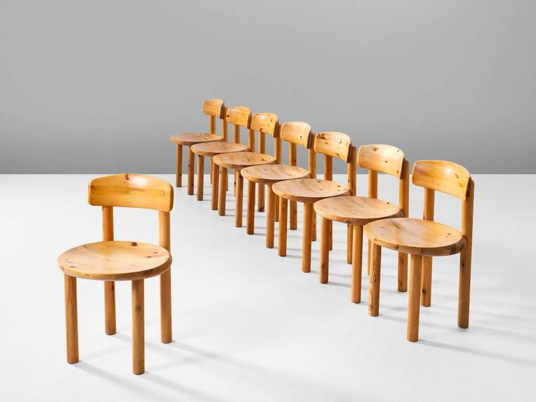 Etonnant Set Of Ten Dining Chairs, In Solid Pine Wood, By Rainer Daumiller For  Hirtshals