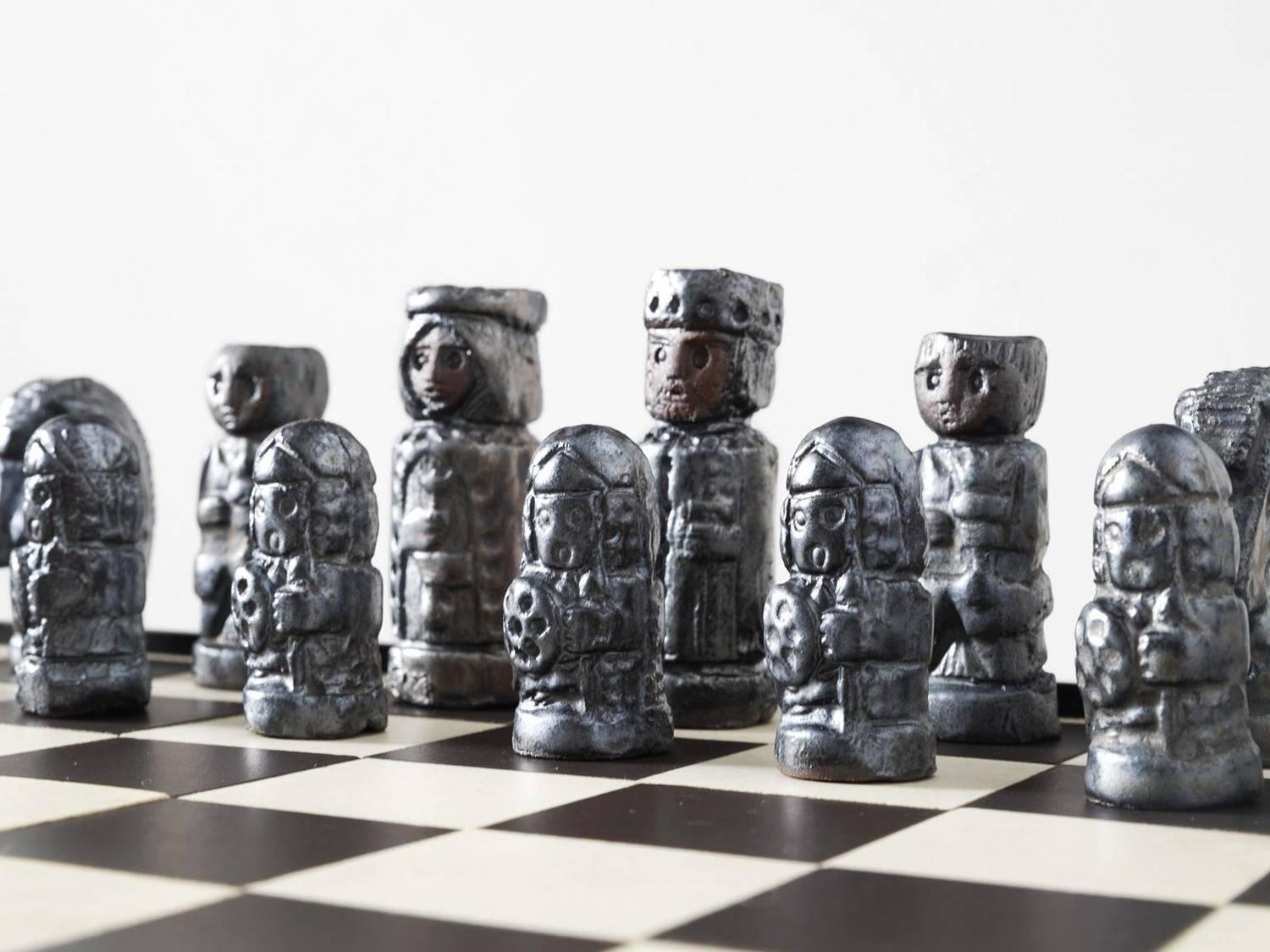 Jan ryheul chess table with ceramic pieces for perignem for sale at 1stdibs - Ceramic chess sets for sale ...