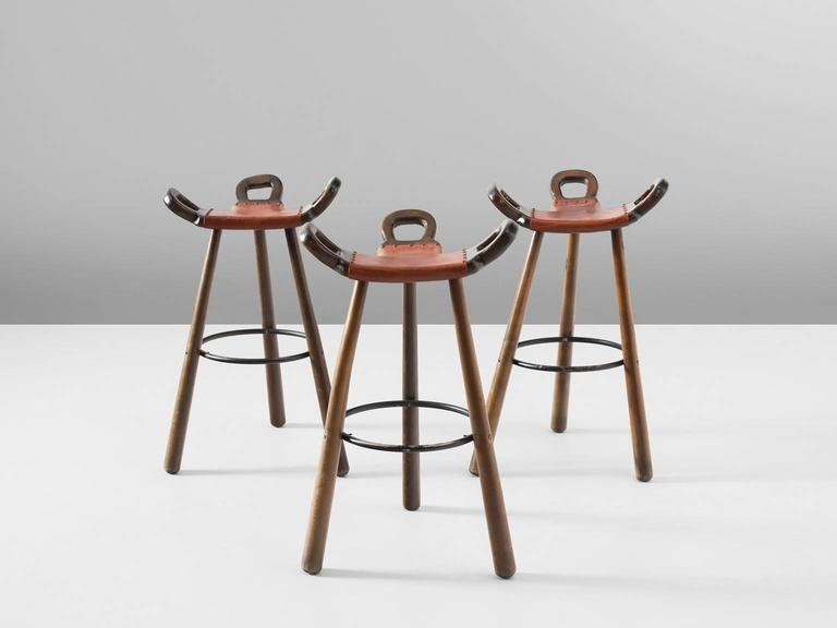 set of three 'marbella' brutalist bar stools with leather seating 1970s Bar Stools