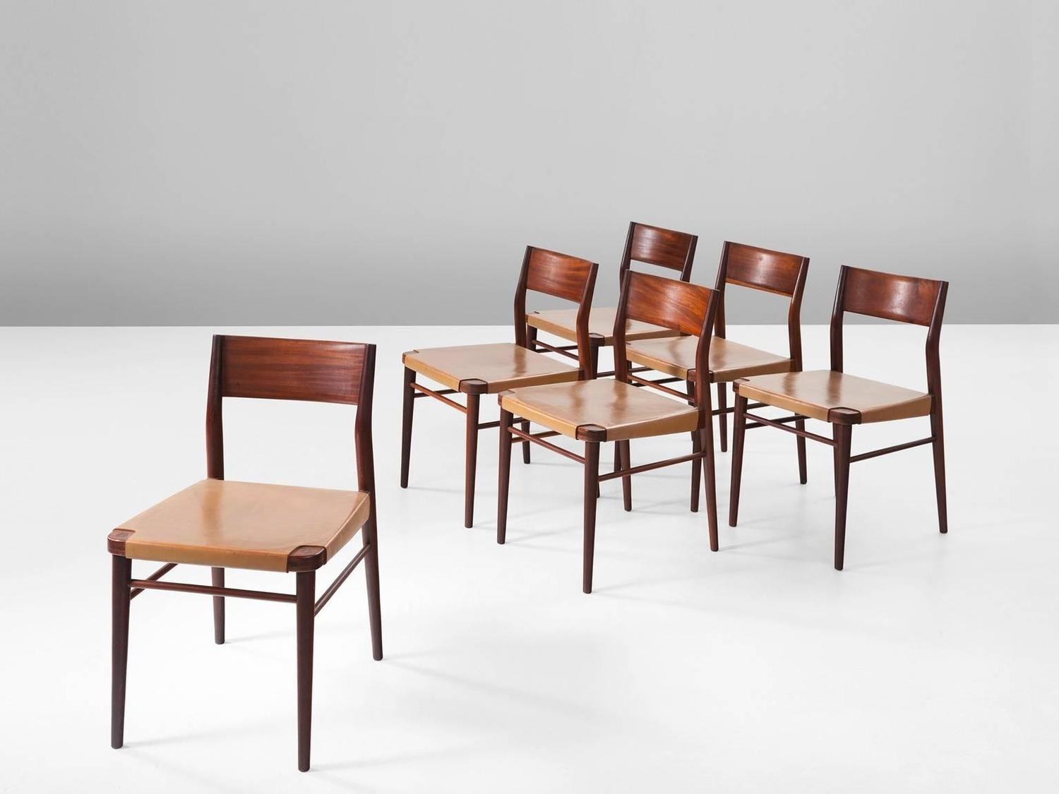 Set of six italian dining chairs in mahogany and natural for Leather dining room chairs on sale
