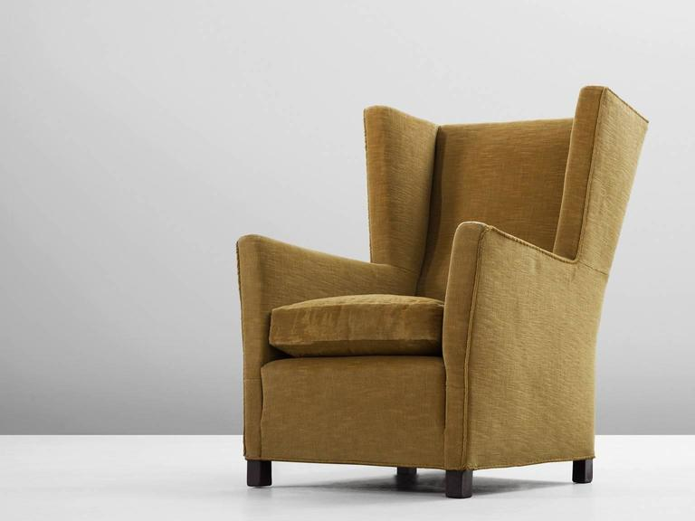 High Back Chair, In Fabric And Wood, Scandinavia, 1950s. Scandinavian  Wingback Chair