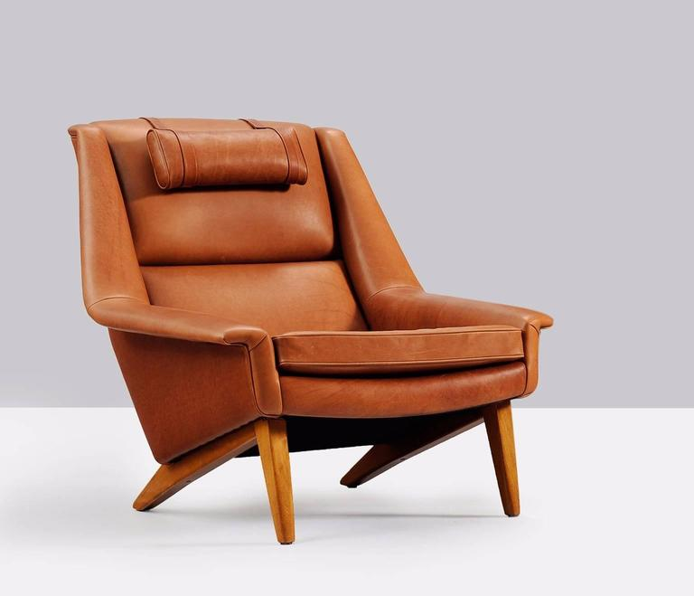 Danish Reupholstered Lounge Chair in Cognac Leather For