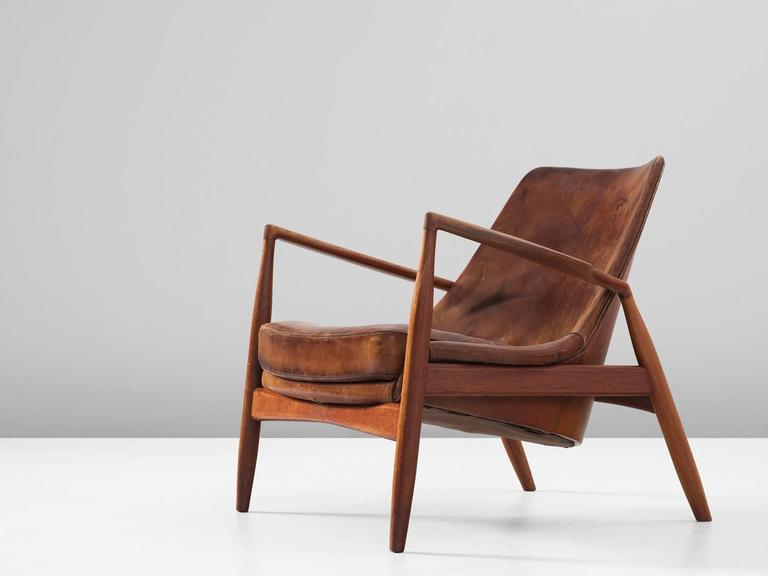Exceptionnel Lounge Chair U0027Sealu0027 Model 503 799, In Teak And Leather, By