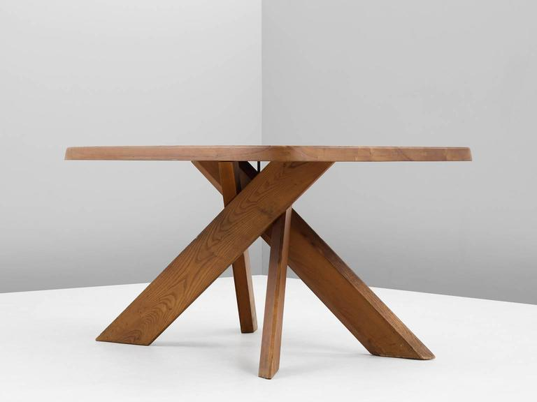 Mid-Century Modern Pierre Chapo T35B Small Dining Table With Unique Natural Aged Patina