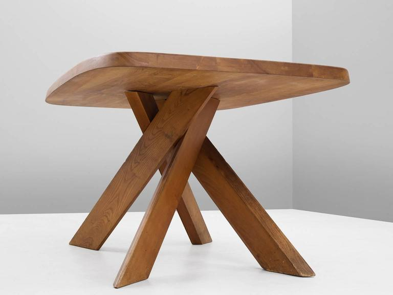 French Pierre Chapo T35B Small Dining Table With Unique Natural Aged Patina