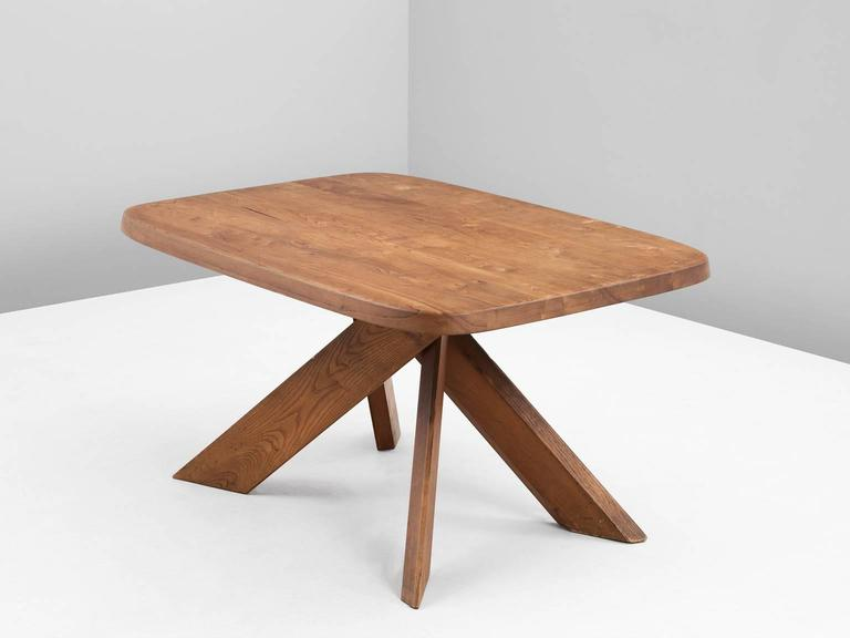 Dining table T35B in elm by Pierre Chapo, France, 1960s.