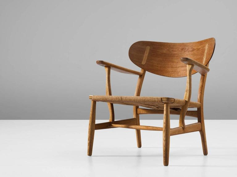Hans Wegner Early Ch22 Lounge Chair In Oak For Sale At 1stdibs