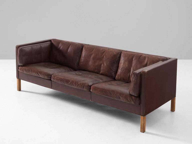 børge mogensen sofa Borge Mogensen Sofa 2443 in Dark Brown Leather For Sale at 1stdibs børge mogensen sofa