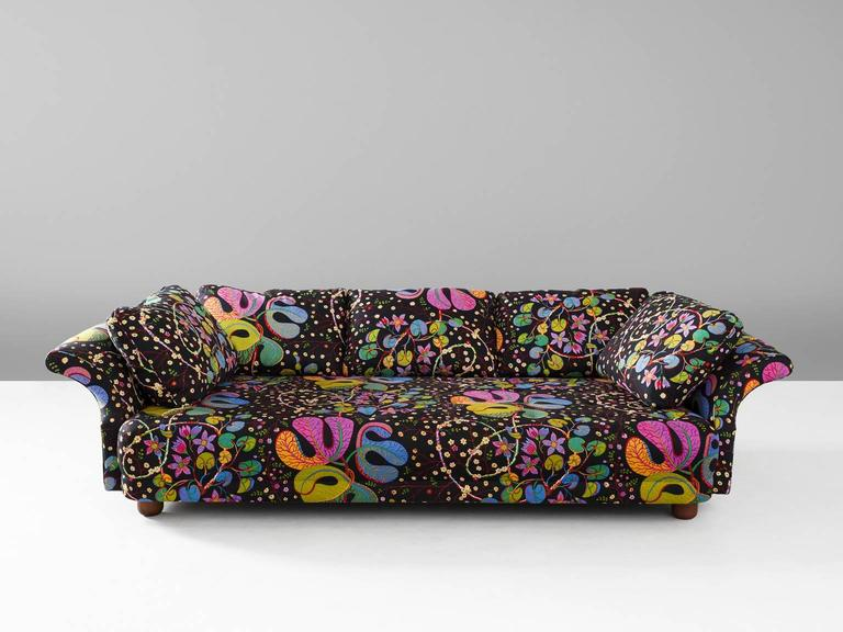Liljevalchs Sofa In Fabric And Wood By Josef Frank, Sweden, 1934.  Exceptional Sofa