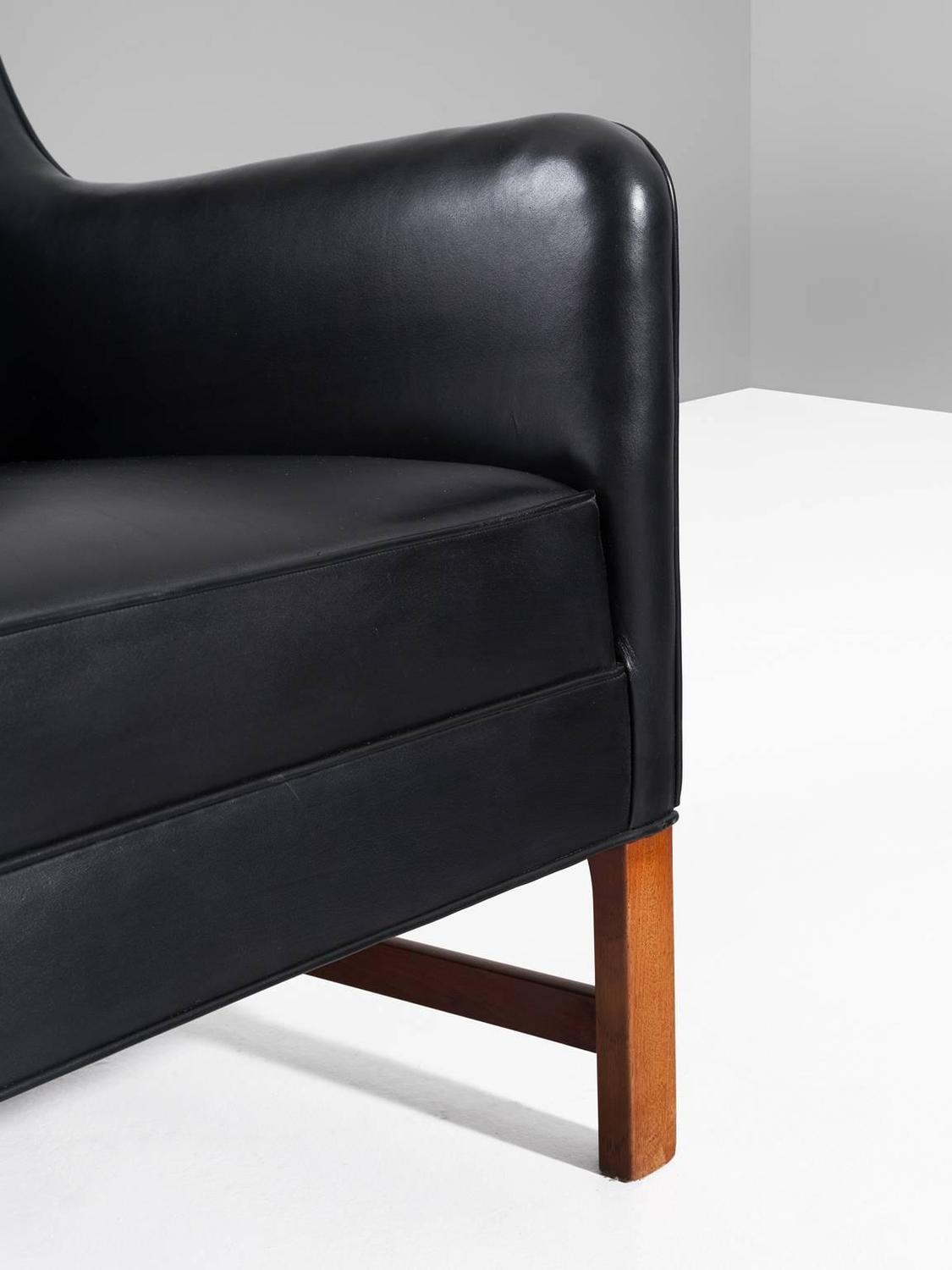 early rud rasmussen black leather easy chair for sale at 1stdibs