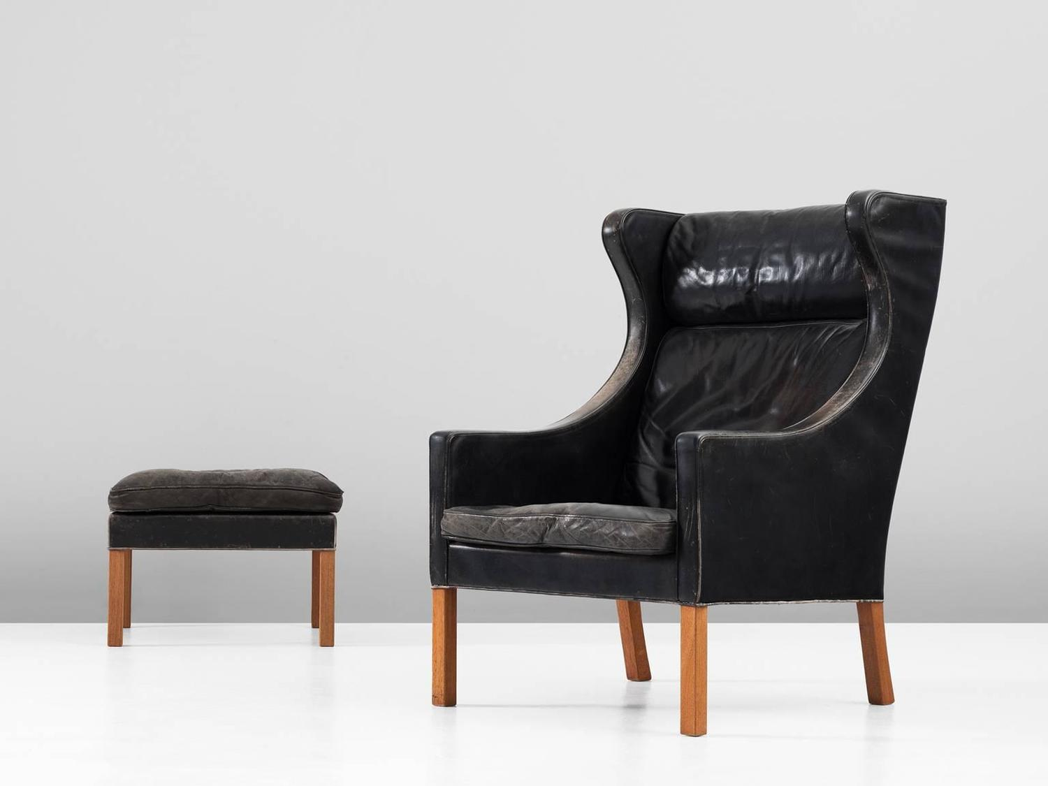 B Rge Mogensen Wingback Chair And Ottoman In Black Leather